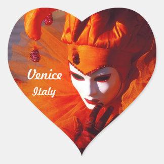 Venetiaanse Harlekijn in het Oranje Kostuum van Hart Stickers