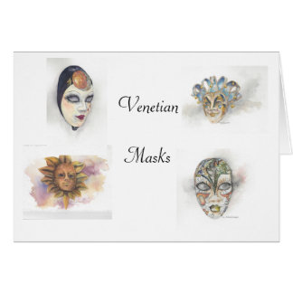 Venetiaanse Maskers Notecards door Mary Dunham Kaart
