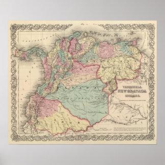 Venezuela, Nieuw Granada Colombia en Ecuador Poster