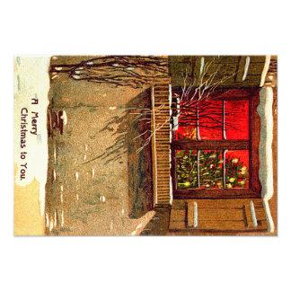 Venster van de Kerstboom van het Plattelandshuisje Foto Afdruk