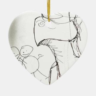Ver voorbij Gedreven Keramisch Hart Ornament