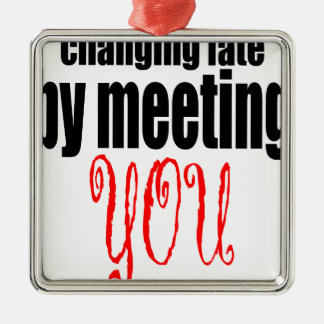 veranderende het lotsvergadering u het flirten zilverkleurig vierkant ornament