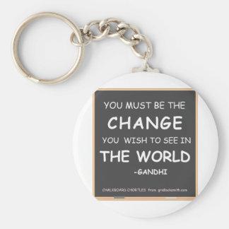 Verandering-wereld-Gandhi Sleutelhanger
