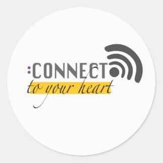 Verbind met uw hartstikers ronde sticker
