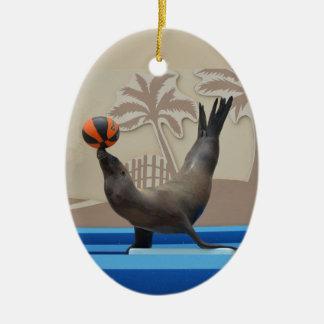 Verbinding (de Zeeleeuw van Californië) Keramisch Ovaal Ornament