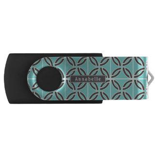 Verdraaide Lijnen in Munt & Grijs met Naam USB Stick