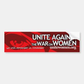 Verenig me tegen de oorlog op vrouwen bumpersticker
