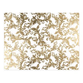 Verfijnd faux gouden wit bloemendamast briefkaart