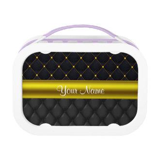 Verfijnd Gewatteerd Zwarte en Goud Lunchbox