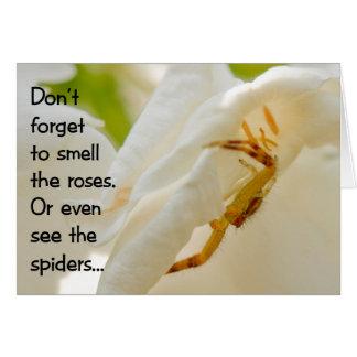 Vergeet niet om de rozen te ruiken wenskaart