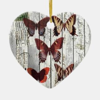 vergoelijkte schuur houten Boheemse Franse vlinder Keramisch Hart Ornament