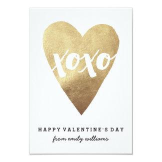 Verguld XOXO Klaslokaal Valentijn - Wit 8,9x12,7 Uitnodiging Kaart