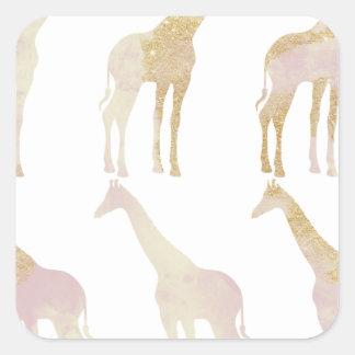 Vergulde Giraffen 1 Vierkante Sticker