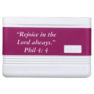 """""""Verheug me"""" Heilige Schrift 12 van de Iglo Igloo Koelbox"""