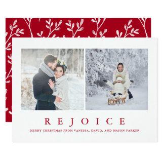 Verheug me Moderne Rode Kerstmis Twee van | Foto Kaart