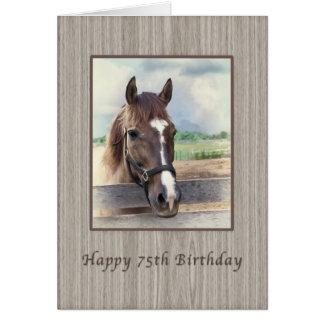 Verjaardag, 75ste, Bruin Paard met Teugel Kaart