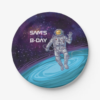 Verjaardag. Astronaut in Ruimte met Sterren & Papieren Bordje