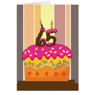 verjaardag - cake met kaarsen 65 - 65ste verjaarda kaart