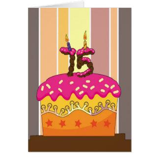 verjaardag - cake met kaarsen 75 - 75ste kaart
