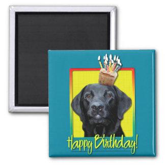 Verjaardag Cupcake - Labrador - Zwarte - Pand Vierkante Magneet