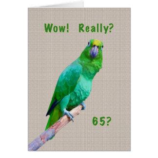 Verjaardag, de 65ste, Groene Papegaai van de Ara Wenskaart
