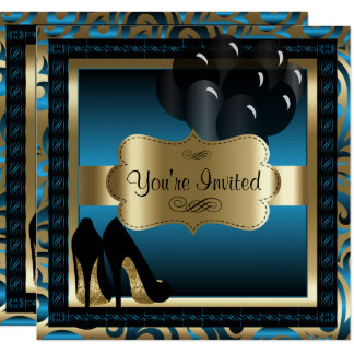Verjaardag   de Blauwe & Gouden Hoge Uitnodiging