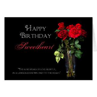 Verjaardag - Liefje - Rode Rozen Briefkaarten 0