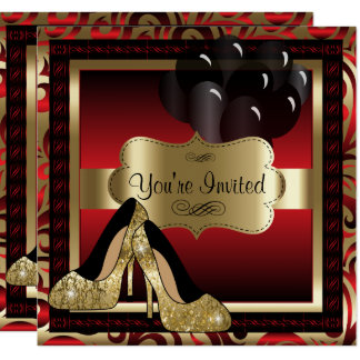 Verjaardag  Red & de Gouden Hoge Uitnodiging van