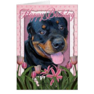 Verjaardag - Roze Tulpen - Rottweiler - Harley Kaart
