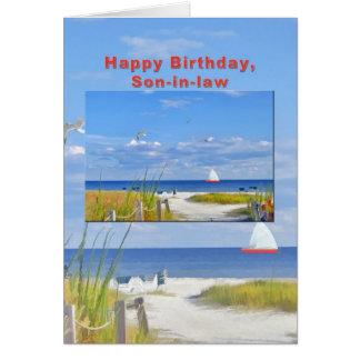 Verjaardag, Schoonzoon, Strand en de OceaanKaart Briefkaarten 0