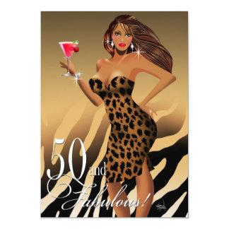 Verjaardag | van de Bom vijftigste van de Luipaard 12,7x17,8 Uitnodiging Kaart