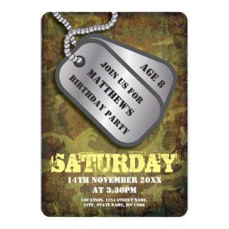 Verjaardag van de Labels van de Hond van het leger 12,7x17,8 Uitnodiging Kaart