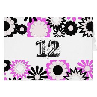 Verjaardag voor 12 éénjarigen, heldere bloemen kaart