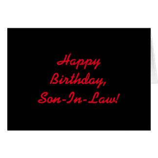 Verjaardag voor een schoonzoon, rode brieven op briefkaarten 0