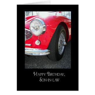 verjaardag voor schoonzoon vintage sportwagen kaart
