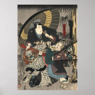 Verlaten Triptiek 1847 van de Actoren van Kabuki Poster