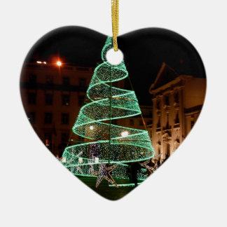 Verlichte Groene Kerstboom Keramisch Hart Ornament