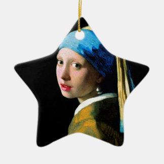 Vermeer - Meisje met een Oorring van de Parel Keramisch Ster Ornament