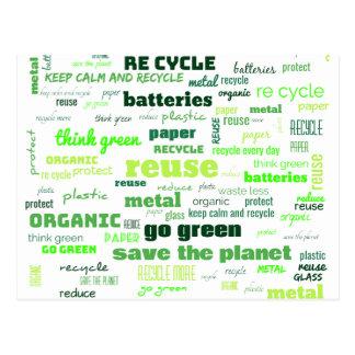 Verminder, gebruik, de Recyclene Wolk van Word Briefkaart