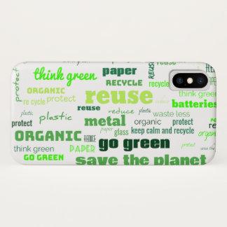 Verminder, gebruik, de Recyclene Wolk van Word iPhone X Hoesje