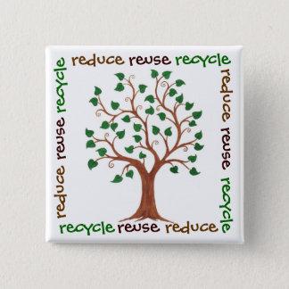 Verminder, gebruik opnieuw, Recyclen - de Vierkante Button 5,1 Cm