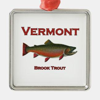 Vermont die - Bronforel vissen Zilverkleurig Vierkant Ornament