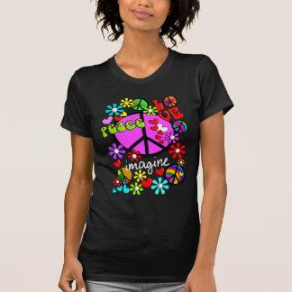 Veronderstel BLAUWE T-shirt 2 van vredessymbolen