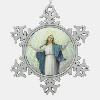 Veronderstelling van Heilige Maagdelijke Mary Tin Sneeuwvlok Ornament