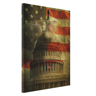 Verontrust Amerikaans Capitool, Eagle en Vlag Canvas Afdrukken