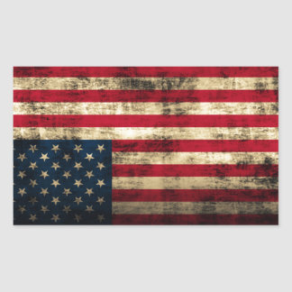 Verontruste Amerikaanse Vlag Grunge Rechthoekige Sticker