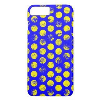 Verontruste Gele Vlekken op Blauw iPhone 8/7 Plus Hoesje