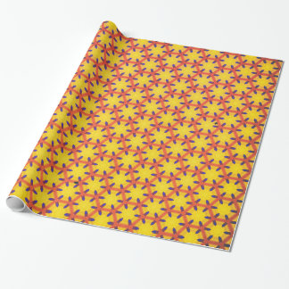 Verpakkend document w/yellow en rood patroon cadeaupapier