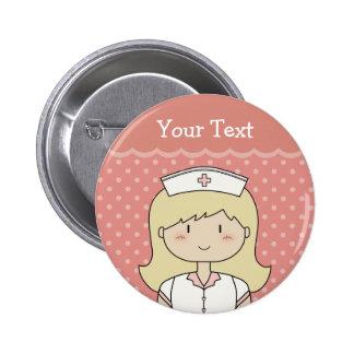 Verpleegster met blondehaar ronde button 5,7 cm