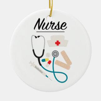 Verpleegster Rond Keramisch Ornament